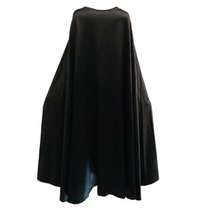 Halston 70s Cape Black Full Length Stretch Satin BACK 2 of 3