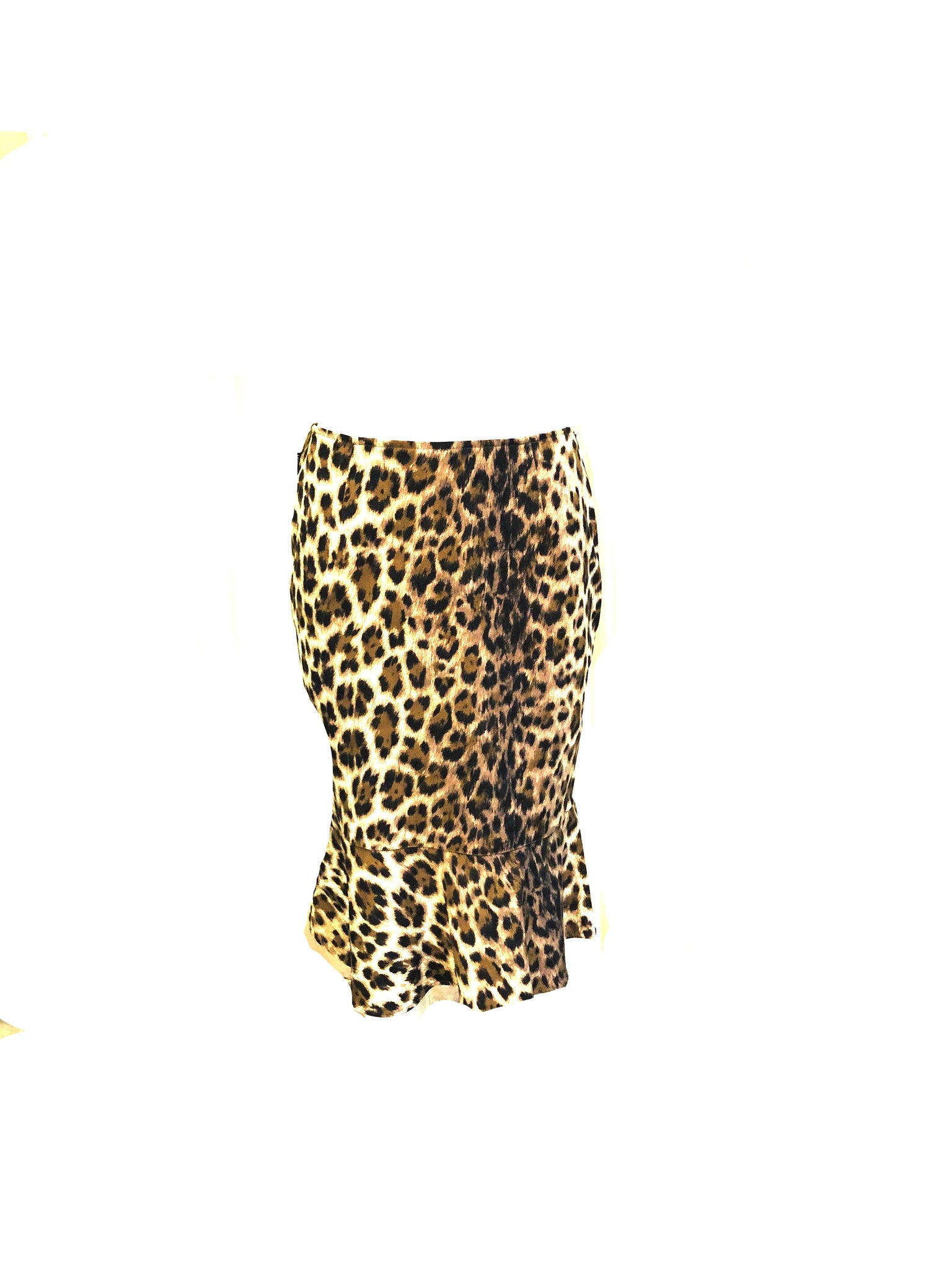 Moschino 90s Leopard Print Stretch Pencil Skirt With Ruffled Hem  BACK 2 of 5