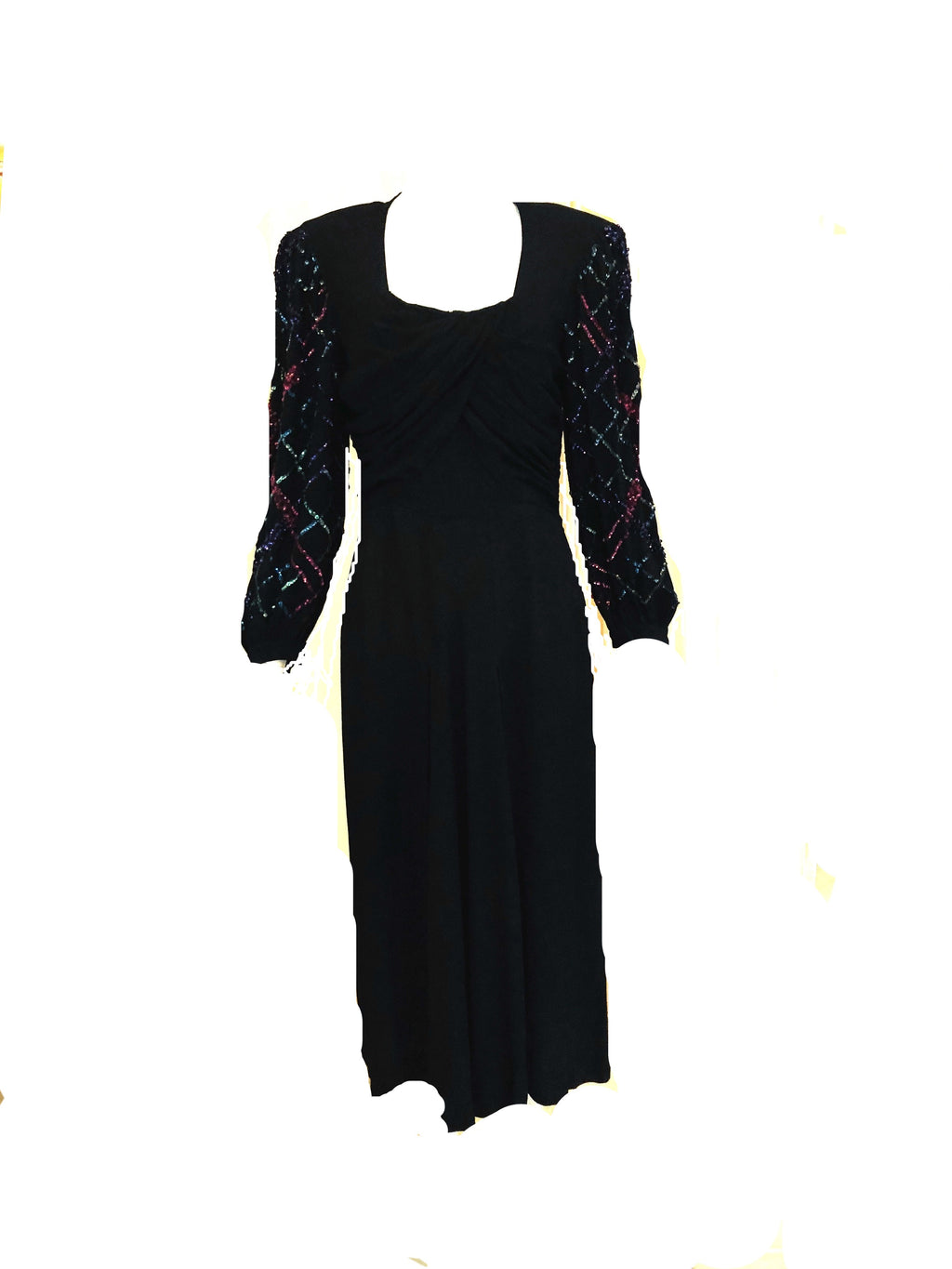 40s Black Crepe Long Sleeve Dress  with Sequin Detailed Sleeves and Draped Bodice FRONT 1 of 4