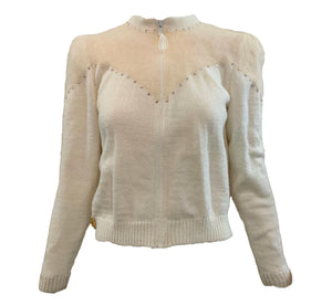 80s White Angora Blend Cardigan Sweater with Rhinestones FRONT 1 of 6