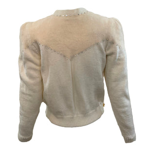 80s White Angora Blend Cardigan Sweater with Rhinestones BACK 3 of 6