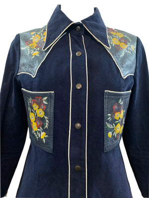 Roncelli  70s Blue  Hippie Western Jacket with Leather Detailing