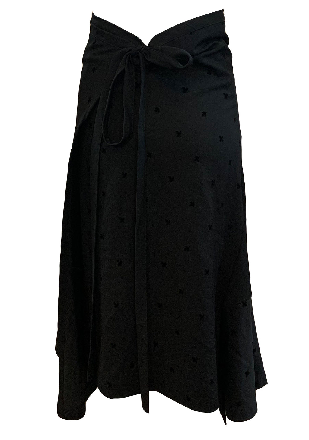 Comme des Garcons Early 2000s Black Wrap Asymmetrical Skirt FRONT 1 of 5