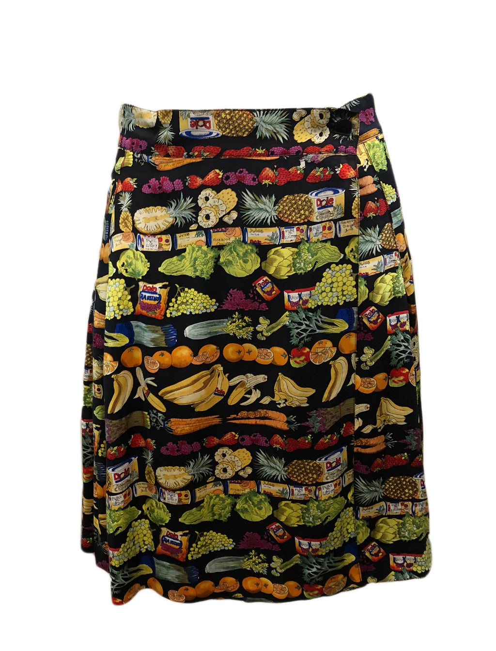 Nicole Miller  90s Silk Foodie Pleated Mini Skirt FRONT 1 of 4