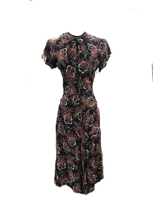 40s Blue Rayon Painterly Floral Print Dress  FRONT 1 of 4