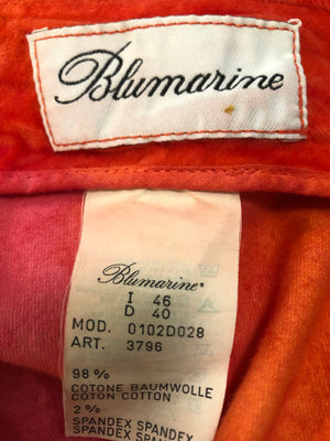 Blumarine 90s Orange Tie Dye Velvet Skirt LABEL 4 of 4
