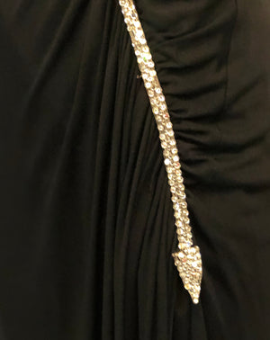 Valentino 70s Black Jersey Rhinestone Arrow Gown  DETAIL 4 of 8