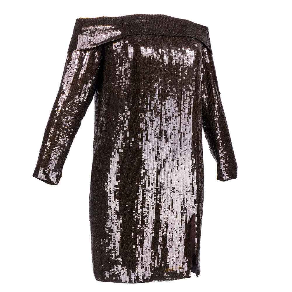 Vintage ANTHONY 80s Brown Sequin Off-Shoulder Dress, side