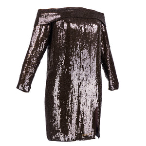 Vintage John ANTHONY 80s Brown Sequin Off-Shoulder Dress, side