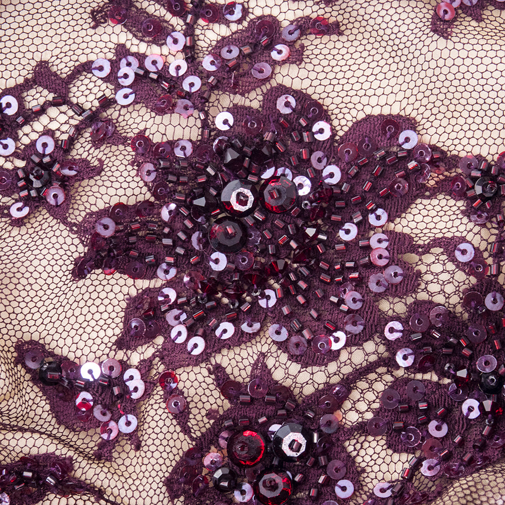 Vintage John ANTHONY 90s Burgundy Lace & Beaded Dress, detail 4