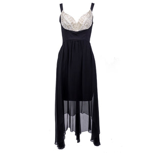 Vintage LAGERFELD 90s Embellished Bodice Silk Party Dress