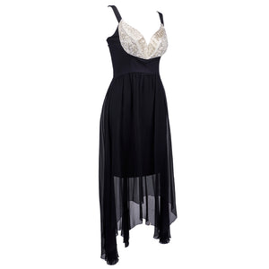 Vintage LAGERFELD 90s Embellished Bodice Silk Party Dress, side