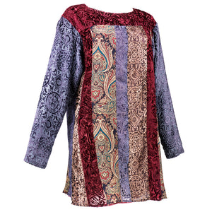 90s KOOS VAN DEN AKKER Cut Velvet Patchwork Tunic Mini, side