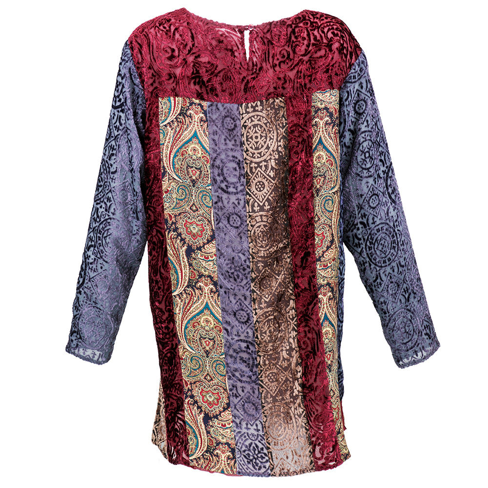 90s KOOS VAN DEN AKKER Cut Velvet Patchwork Tunic Mini, back