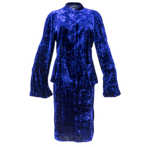Vintage KRIZIA 90s Midnight Blue Velvet Skirt Suit