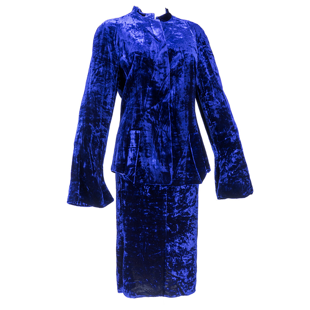 Vintage KRIZIA 90s Midnight Blue Velvet Skirt Suit, side