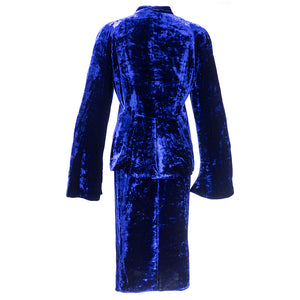 Vintage KRIZIA 90s Midnight Blue Velvet Skirt Suit, back