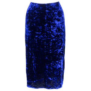 Vintage KRIZIA 90s Midnight Blue Velvet Skirt Suit, skirt