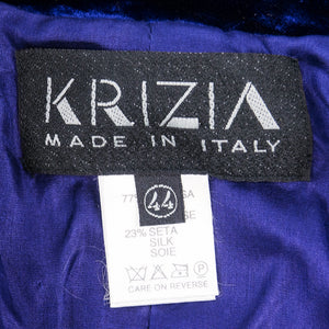Vintage KRIZIA 90s Midnight Blue Velvet Skirt Suit, label