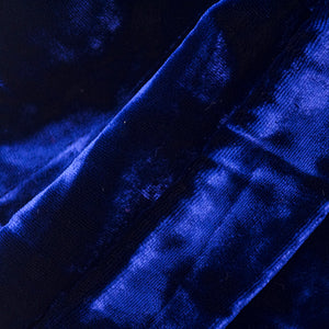 Vintage KRIZIA 90s Midnight Blue Velvet Skirt Suit, close up 2