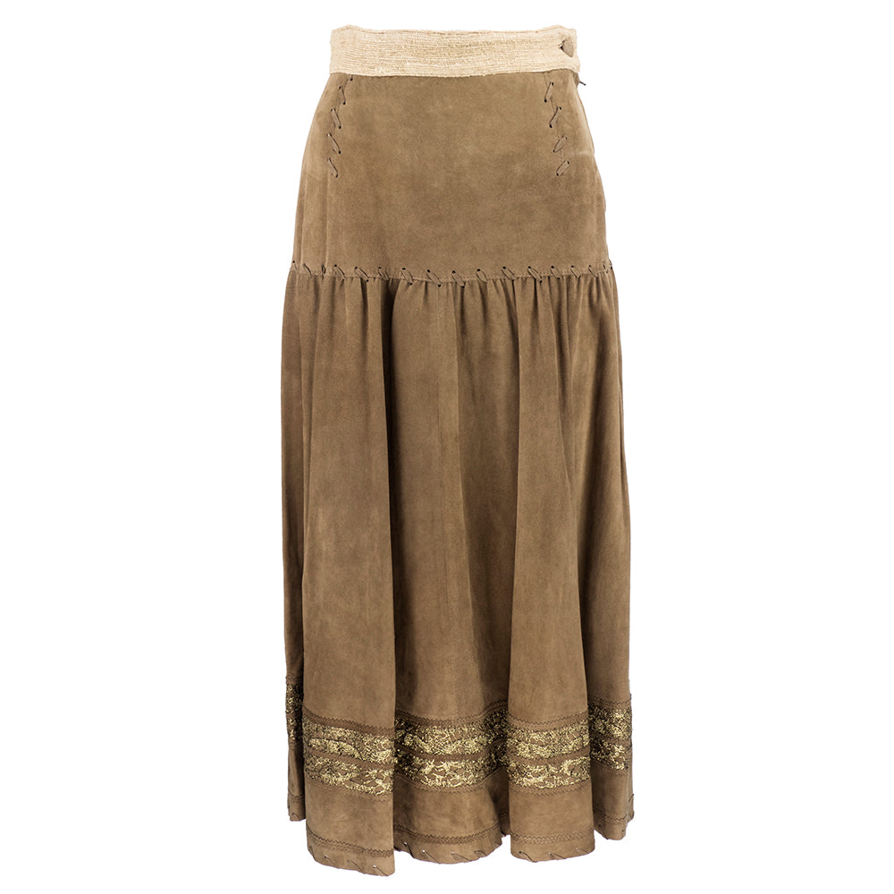 Vintage MOSCHINO 90s Suede Western Ensemble, skirt