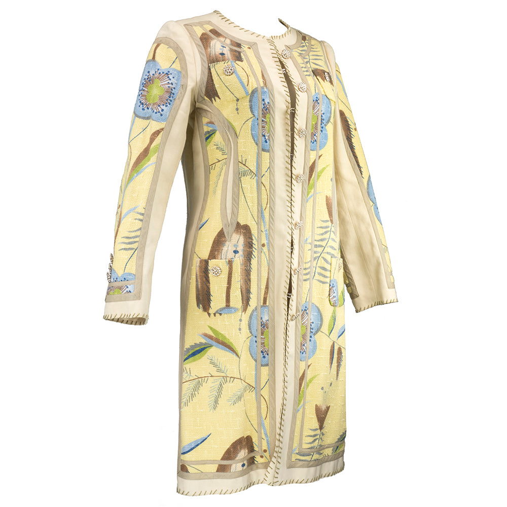 Vintage MOSCHINO 90s Nude Floral-Print Coat