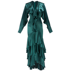 Vintage KAMALI 80s Green Satin Gown