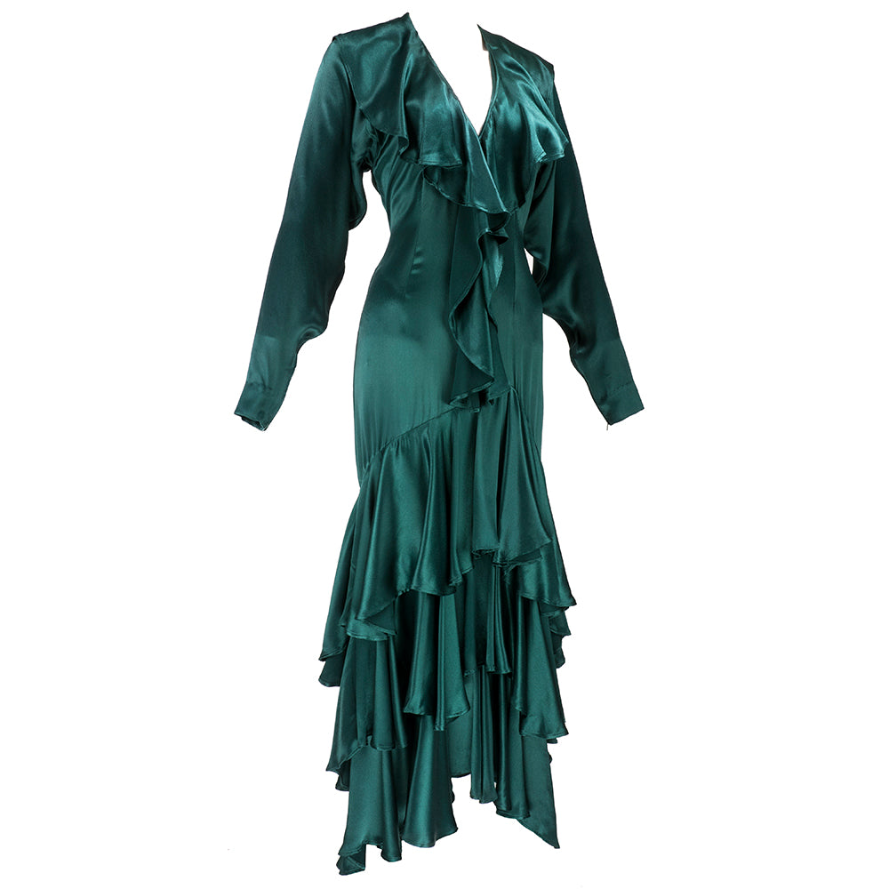 Vintage KAMALI 80s Green Satin Gown, side