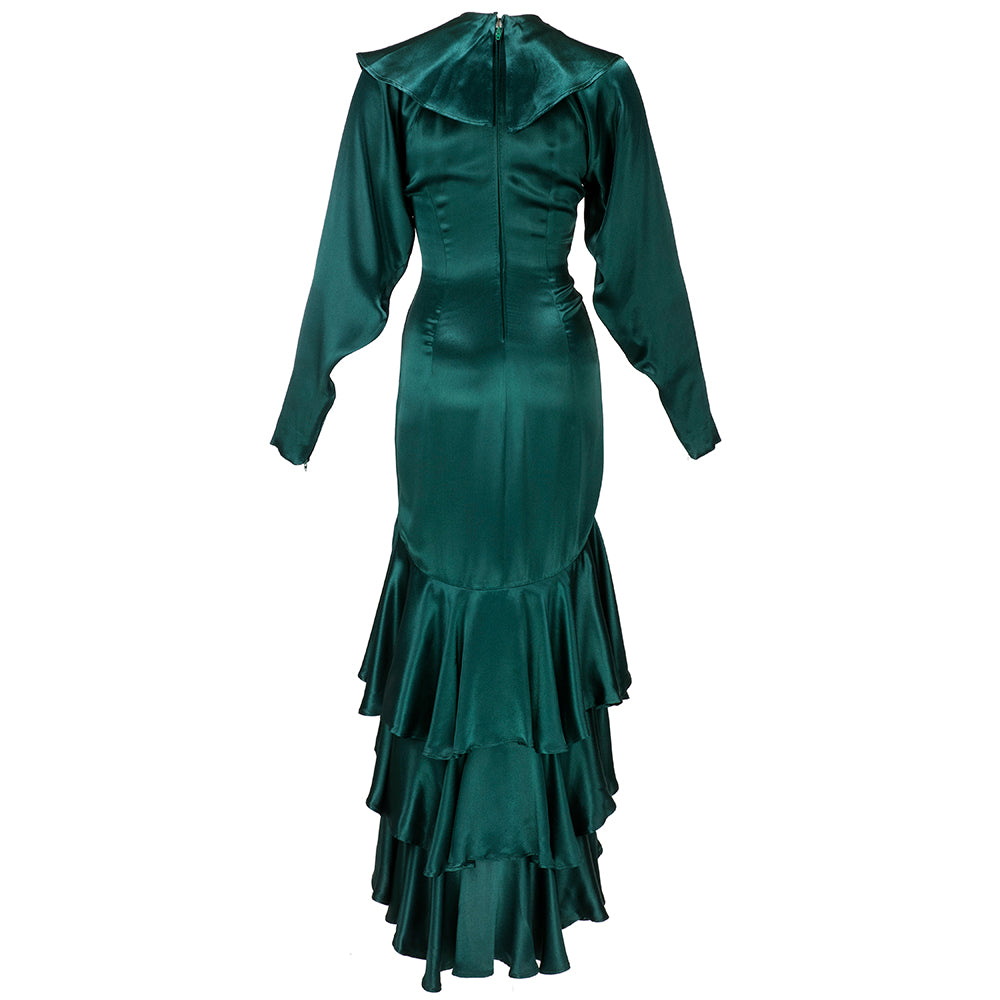 Vintage KAMALI 80s Green Satin Gown, back