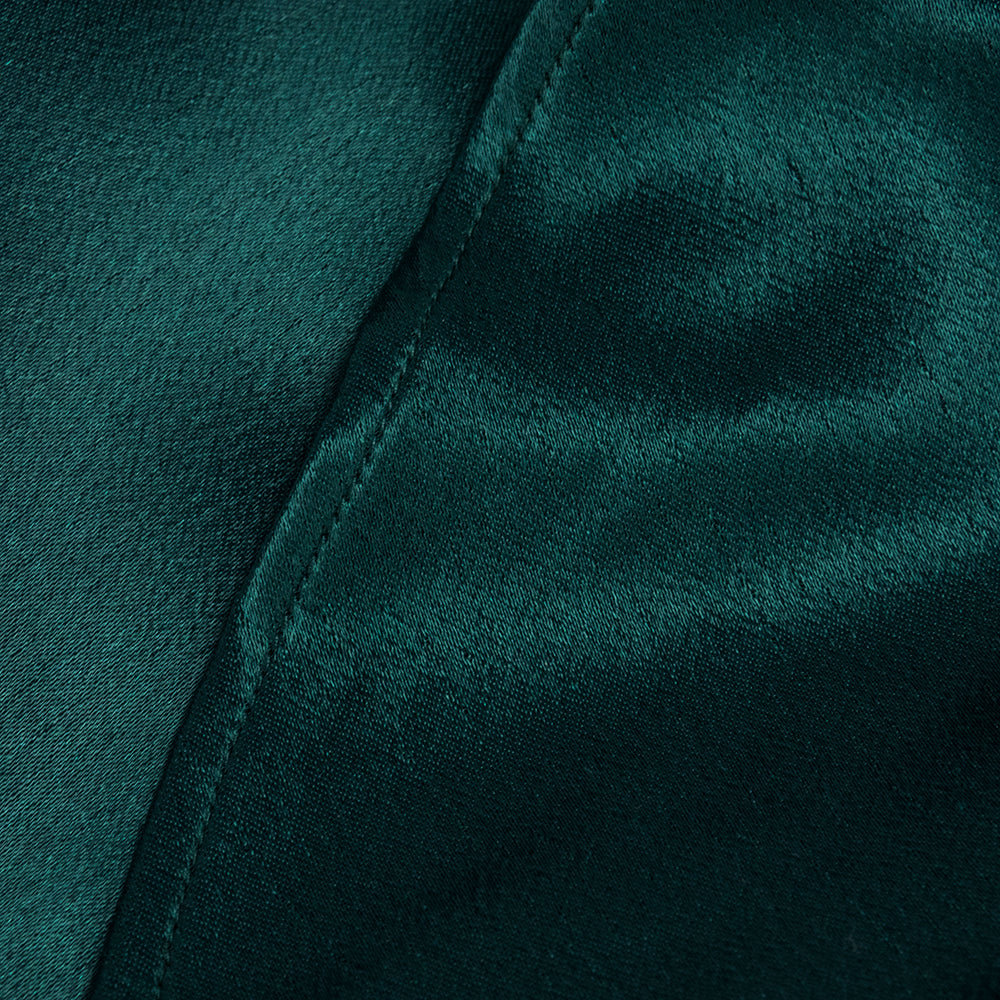 Vintage KAMALI 80s Green Satin Gown, detail 3