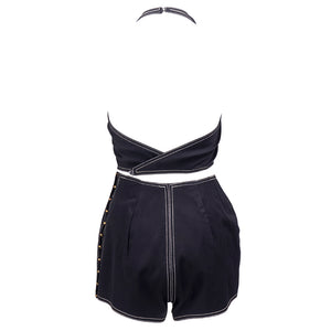 Vintage MCCARDELL-Unlabeled 50s Two-Piece Black Playsuit, back