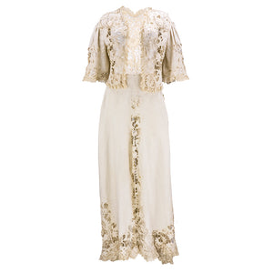 Edwardian Cotton Battenburg Lace & Linen Walking Suit