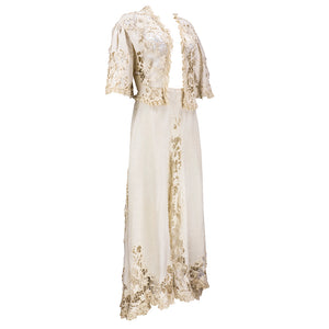 Edwardian Cotton Battenburg Lace & Linen Walking Suit, side