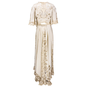 Edwardian Cotton Battenburg Lace & Linen Walking Suit, back