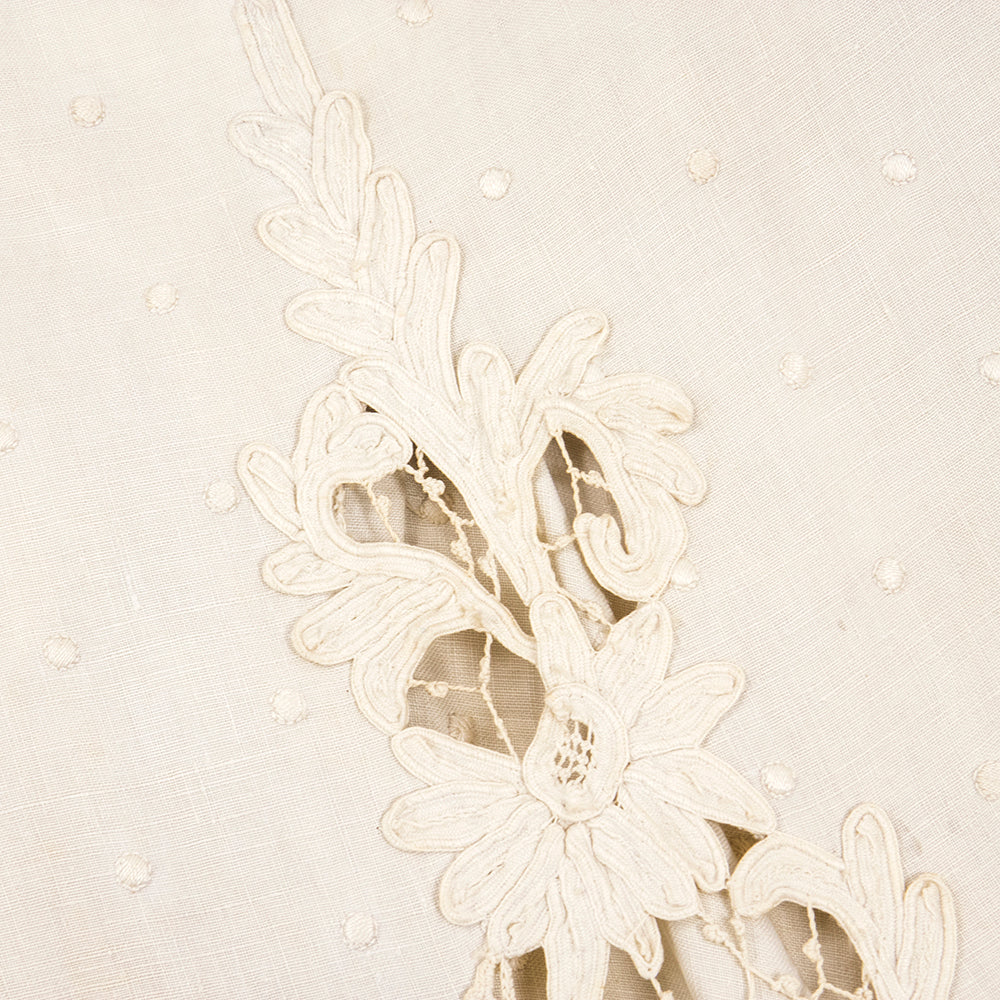 Edwardian Cotton Battenburg Lace & Linen Walking Suit, detail 1