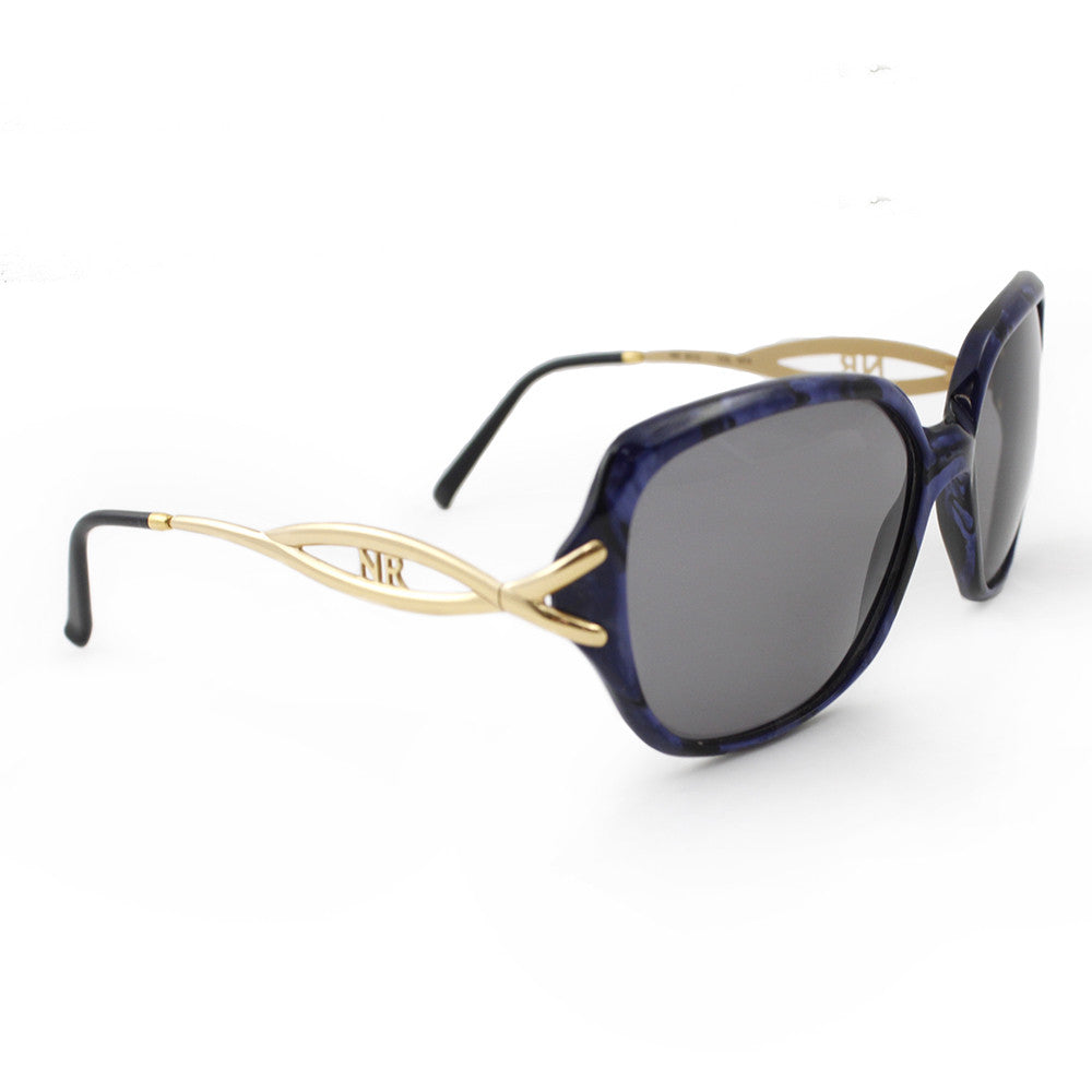 Vintage NINA RICCI 70s Gold & Blue Sunglasses, side