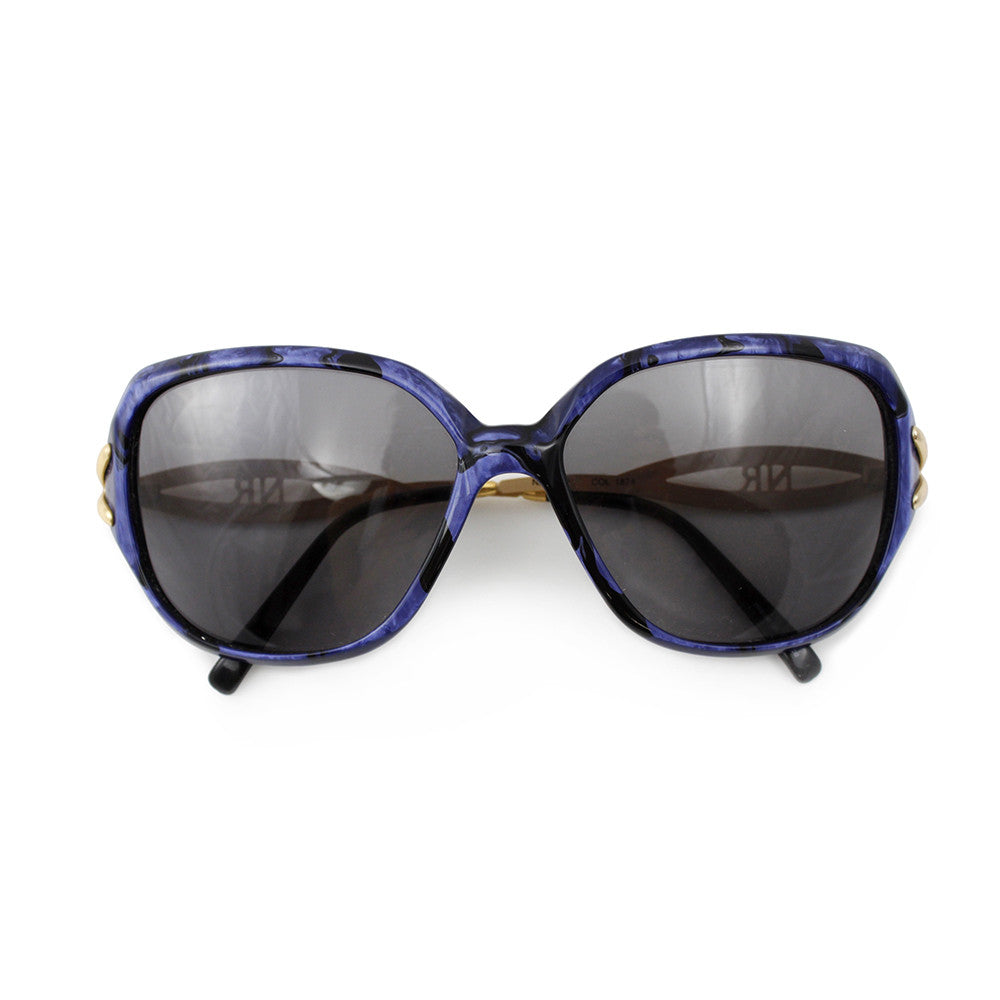 Vintage NINA RICCI 70s Gold & Blue Sunglasses, folded