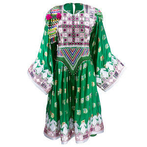 Emerald Green Beaded Traditional Afghani Dress