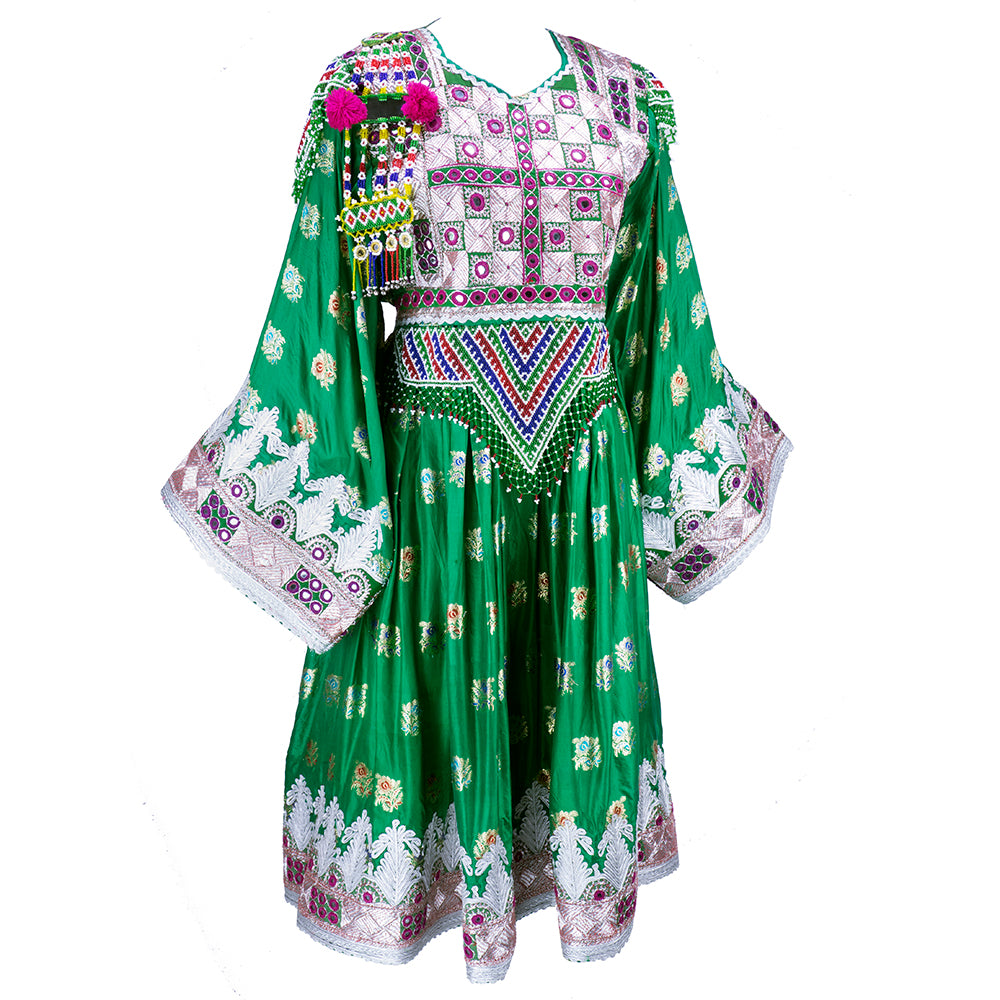 Emerald Green Beaded Traditional Afghani Dress, side