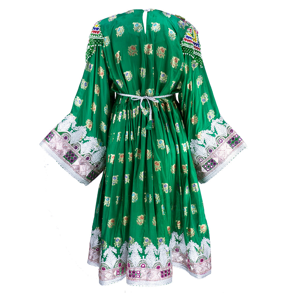 Emerald Green Beaded Traditional Afghani Dress, back
