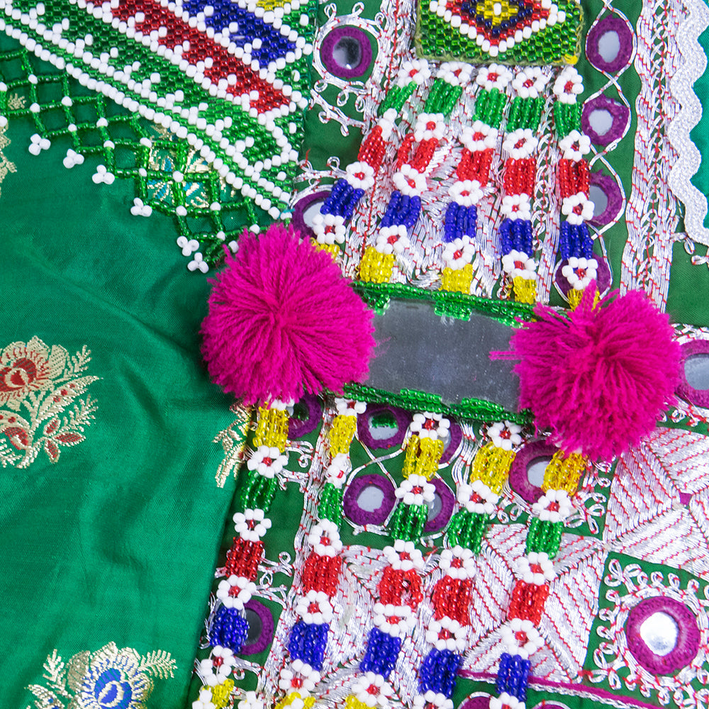 Emerald Green Beaded Traditional Afghani Dress, detail 1
