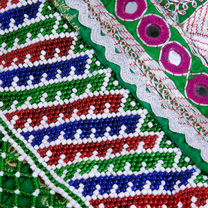 Emerald Green Beaded Traditional Afghani Dress, detail 4