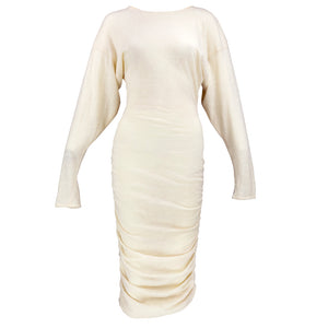 Vintage KELLY 80s Cream Knit Bodycon Dress