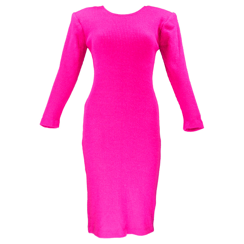 Vintage KELLY 80s Magenta Bodycon Scoop-Back Dress