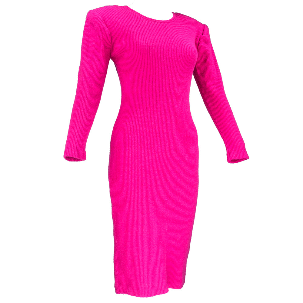 Vintage KELLY 80s Magenta Bodycon Scoop-Back Dress, side