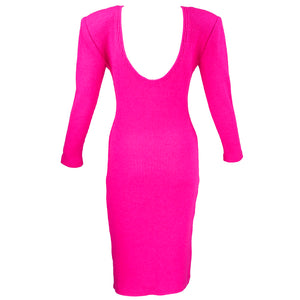 Vintage KELLY 80s Magenta Bodycon Scoop-Back Dress, back