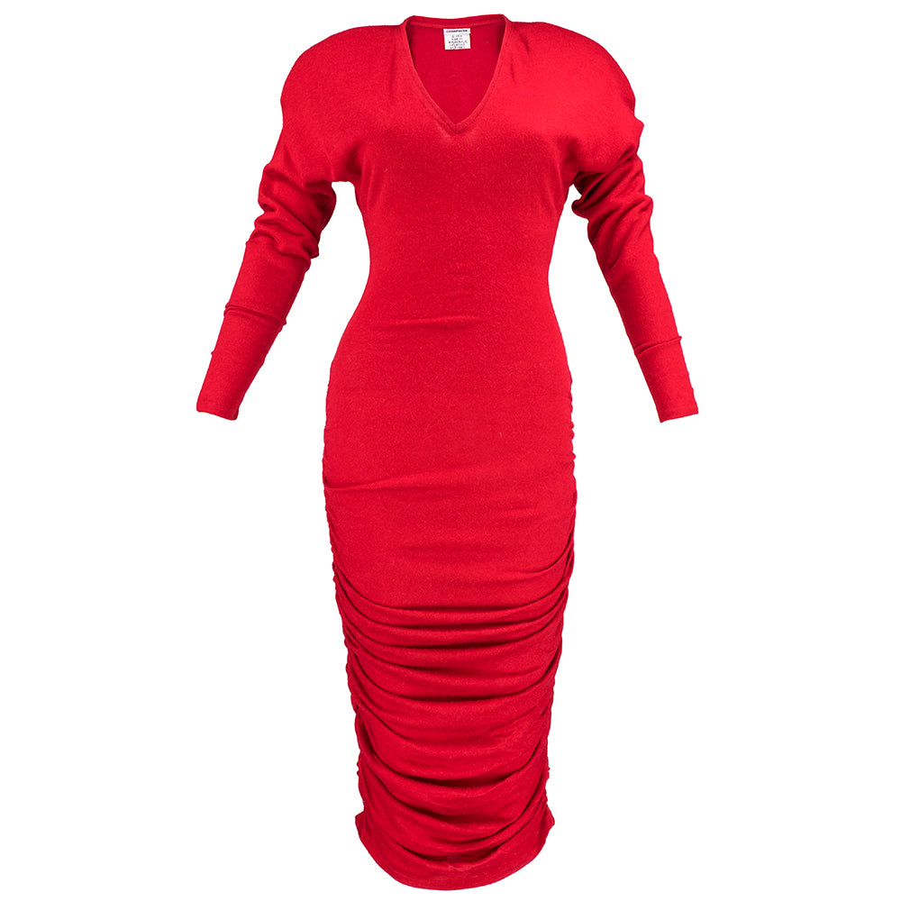 1980s Patrick Kelly Red Knit Body Con Dress