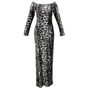 Vintage KELLY 80s Leopard Velvet Bodycon Dress