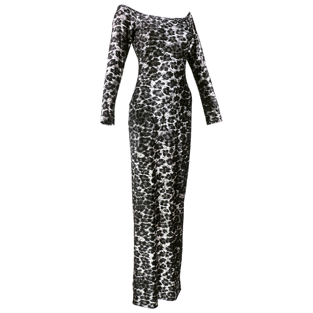Vintage KELLY 80s Leopard Velvet Bodycon Dress, side