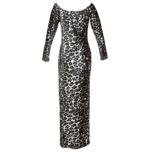 Vintage KELLY 80s Leopard Velvet Bodycon Dress, back